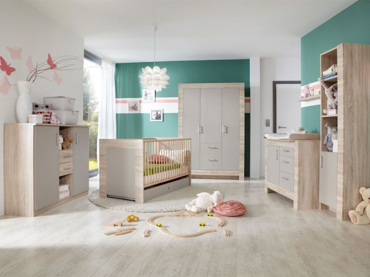 Spectacular PAUL komplett Babyzimmer II Eiche s gerau Sandgrau