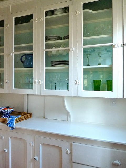 Butterfly hinged glass door pantry, all white hardware and knobs