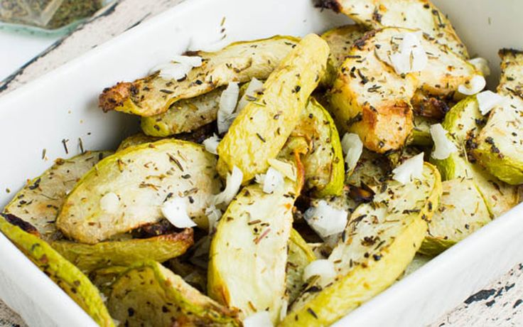 This roasted chayote recipe is super easy, the veggie is simply sliced, seasoned, and lightly pan-fried.