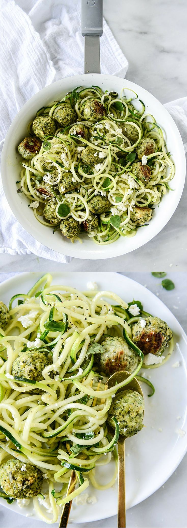 Zucchini Noodles with Chicken, Feta and Spinach Meatballs by @howsweeteats I howsweeteats.com
