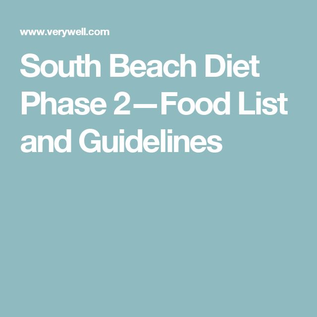 South Beach Diet Phase 2—Food List and Guidelines