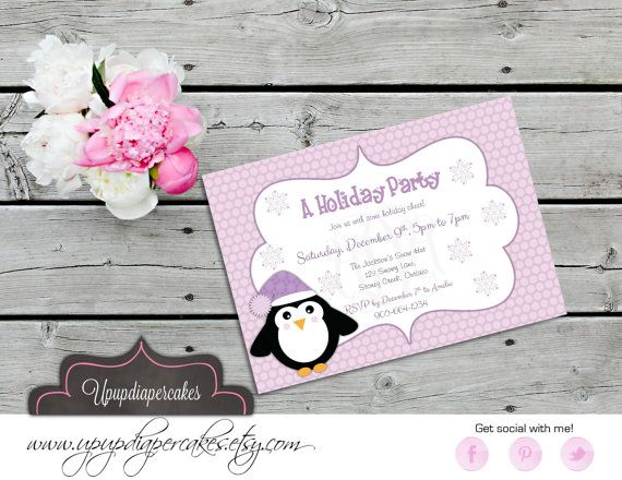 Winter Penguin Invitation--Holiday Party Invite--Penguins--Lavender Purple--Birthday Invitation--Printable Invite