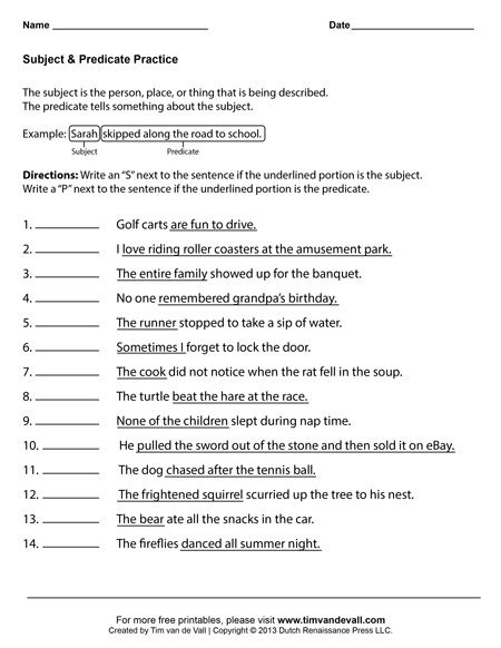 Subject and Predicate Worksheet #3