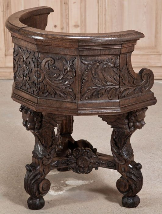 "Antique French Renaissance ""Barrel"" Chair, Only rarely do we discover such artistry on such a diminutive scale! This impressive armchair was artfully sculpted from solid French white oak, and features a barrel style wraparound back supported by a tripod base, but that's where the simplicity ends. Ca. 1840's"