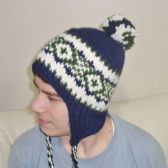 Wooly Hats with Ear Flaps in Dark Blue Cream Green by earflaphats, $39.99