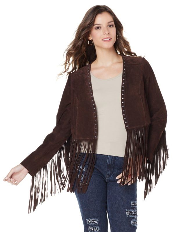 """Time to channel your inner hippie! This suede fringe jacket by Carlos Falchi is the perfect topper for any weekend look this fall! Plus, the lyrics to Jimi Hendrix's song """"Purple Haze"""" are inscribed on the lining!"""