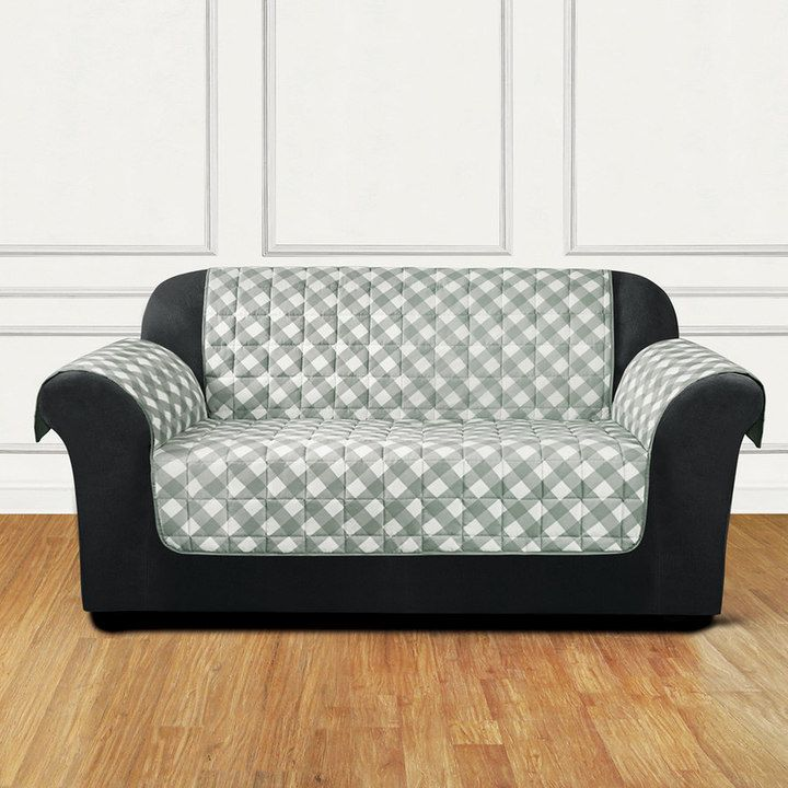Sure Fit Furniture Flair Gingham Plaid Loveseat Slipcover Grey Slipcovers And Products