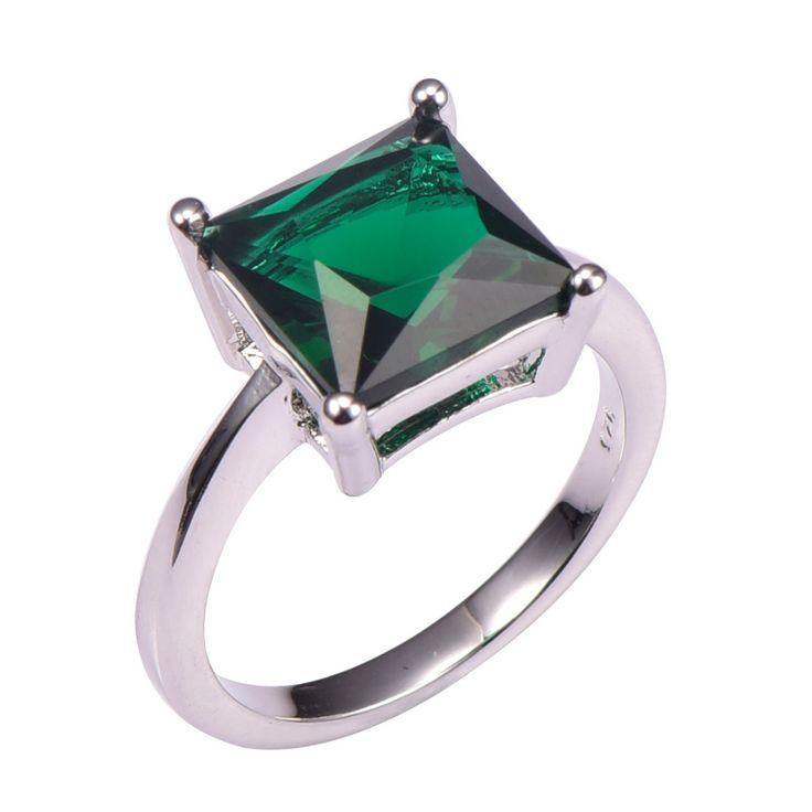 Simulado Esmeralda 925 Del Banquete de Boda de Diseño de Moda Romántica Tamaño del anillo 5 6 7 8 9 10 11 12 PR47