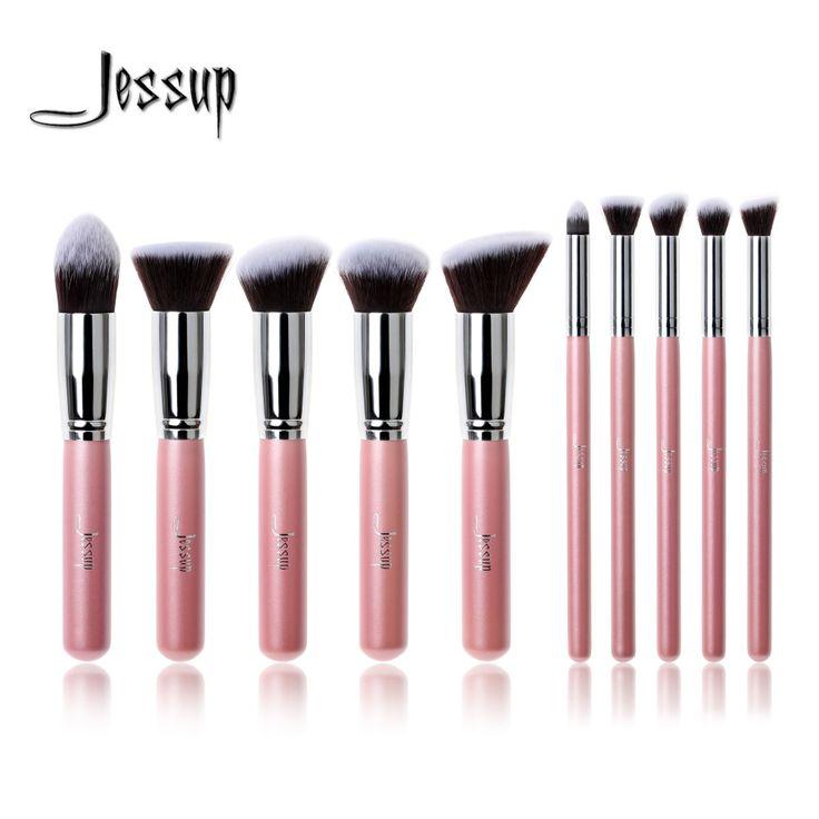 Professionelle 10 stücke rosa/silber jessup marke make-up pinsel set schönheit foundation kabuki pinsel kosmetik make-up pinsel werkzeug kit