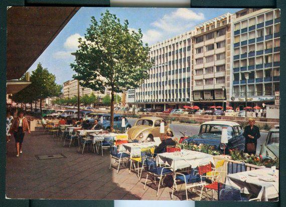 Dusseldorf c1960/70s Vintage German Postcard - Berliner Allee, Weinlese postkarte, Deutschland, Street Scene, Collectable, $5.00