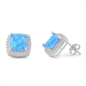 Sterling Silver Cushion Cut Blue Opal and CZ Halo Stud Earrings