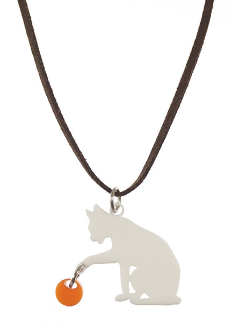 White laser cut acrylic Cat necklace for kids. Here Kitty, Kitty!