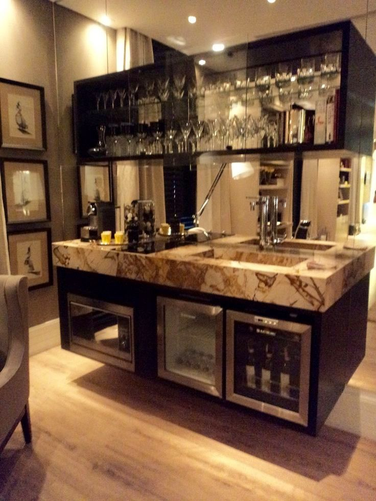 Bon Floating Wet Bar Design With Stone Countertop