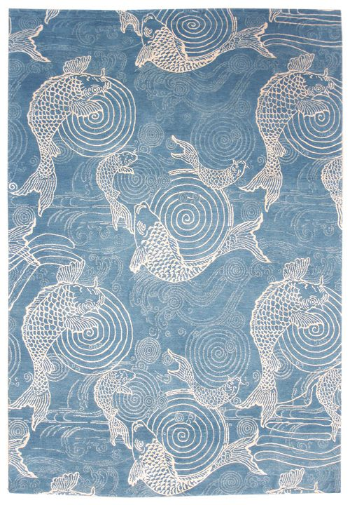 Pictorial and Folklife Rugs Gallery: Nishikigoi Fish Rug, Hand-knotted in Nepal…