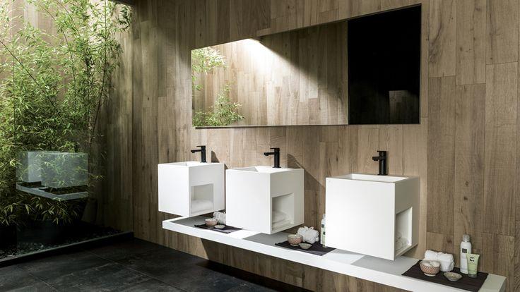 Diseño #minimalista con KRION Solid Surface para los nuevos #lavabos y muebles de #baño de la colección Ras   Porcelanosa #baños