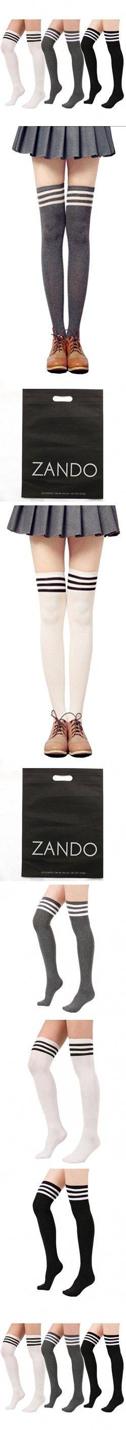 Zando Women Stripe Tube Dresses Over the Knee Thigh High Stockings Cosplay Socks 3Pairs White w Black w Gray