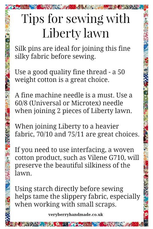 Tips for sewing with Liberty lawn More