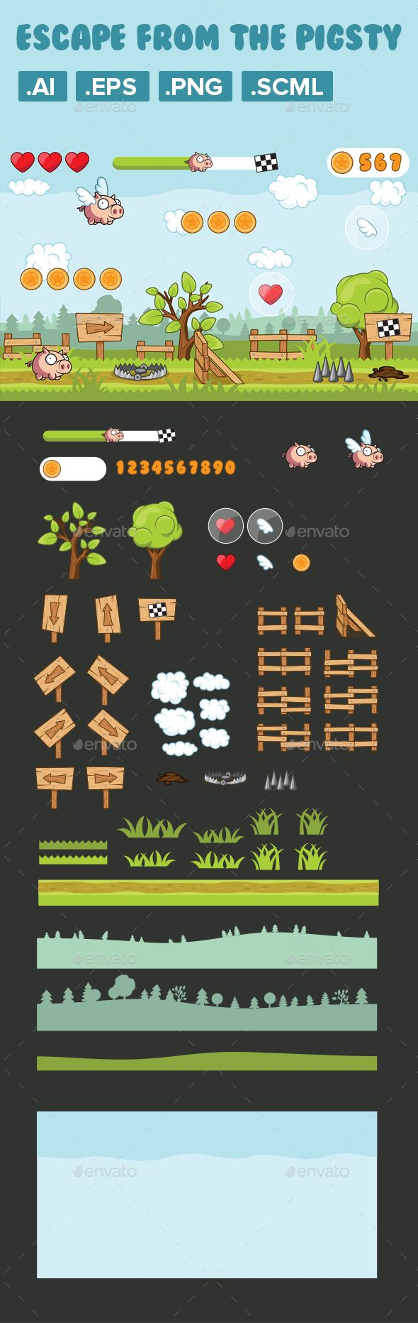 Game Asset, 2D Character Pig Runner - Game Kits Game Assets   Download: https://graphicriver.net/item/game-asset-2d-character-pig-runner/19179917?ref=sinzo