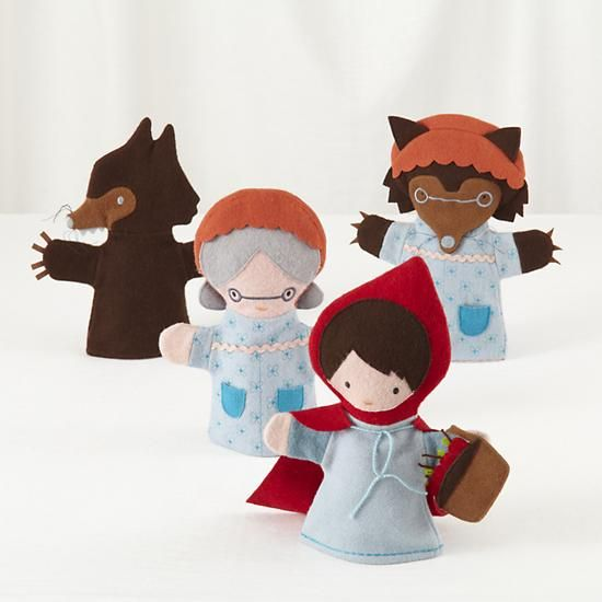 The Land of Nod | Kids Theater: Little Red Riding Hood Hand Puppet Set in Imaginary Play