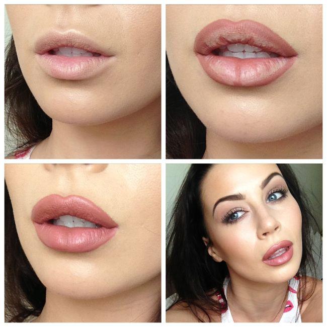 kylie jenner lip Rimmel 1000 kisses lip liner in 'Tiramsu' and MAC Matte in 'Brave