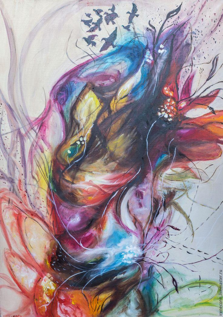 Купить Вихрь - комбинированный, абстрактный, абстракция, цветной, яркие краски, живопись маслом, живопись в подарок