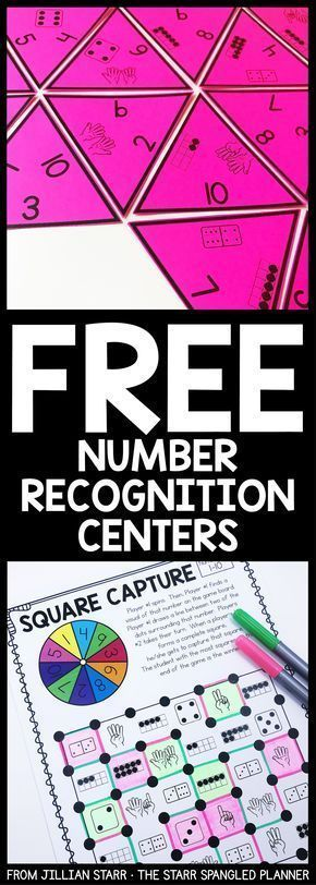 FREE Number Recognition Centers to help your students practice recognizing and matching a variety of ways to represent numbers 1-10. A mix of games, logic puzzles, and hands on activities that are perfect for Preschool, kindergarten, and first grade math centers and stations! #mathforfirstgrade #mathpractice #learnmathforadults