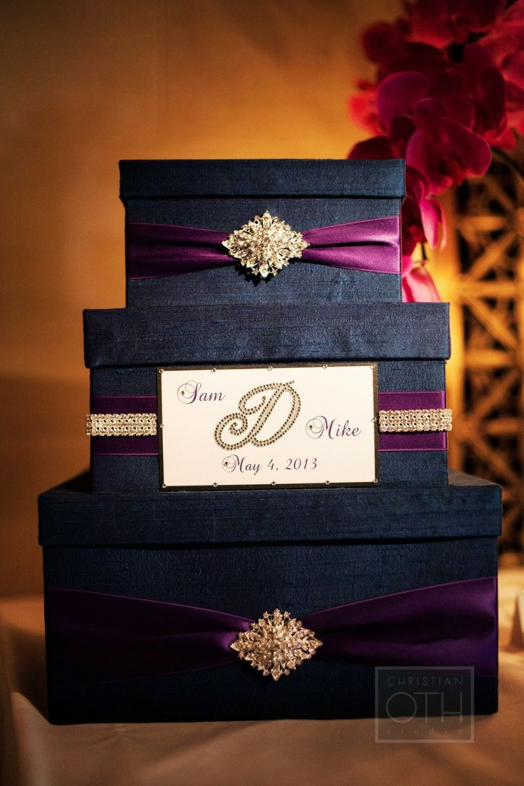 Satin wedding card box with royal blue flower and rhinestone mesh trim - Card Box Christian Oth Studio See More On Smp Weddings Http