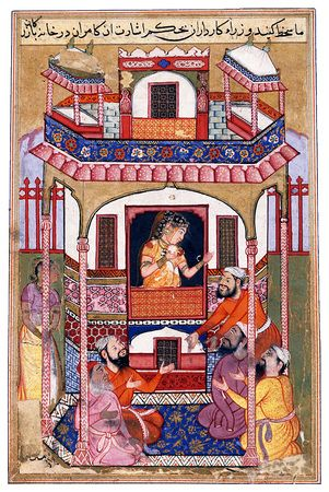 """Miniature from a copy of the Tuti-nama. """"A Young Woman Visited by the Sultan's Viziers"""" India, Mughal; c. 1570 Miniature: 15.5 × 10.3 cm Apart from Akbar's Hamza-nama, the """"Cleveland Tuti-nama"""" is the earliest manuscript that exemplifies the new Mughal style, in which Persian and local Indian elements were combined. The saturated but subdued palette and realistic rendition of the characters, in particular, are typically Indian."""