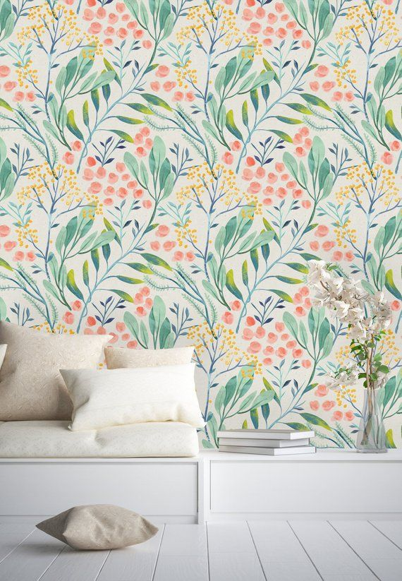 Watercolor Wild Floral Pattern Removable Wallpaper Peel And Etsy Wall Wallpaper Peel And Stick Wallpaper Self Adhesive Wallpaper