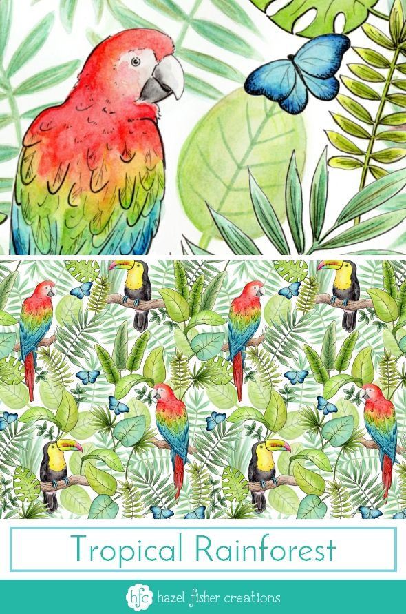 My Entry to Spoonflowers Rainforest Animals Challenge by Hazel Fisher Creations.  Watercolour and pen illustrations. Surface Pattern Design.