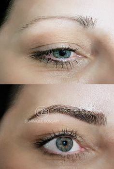 Eyebrows - Before/ After the Micro Color Infusion treatment of Dominique Bossavy, Permanent makeup Artist
