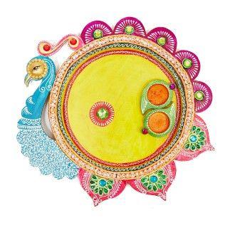 Pooja Thali Round Peacock