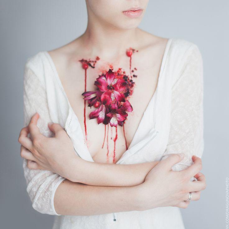 Makeup, idea and photo by Rina Dragunova #art #photography #blood