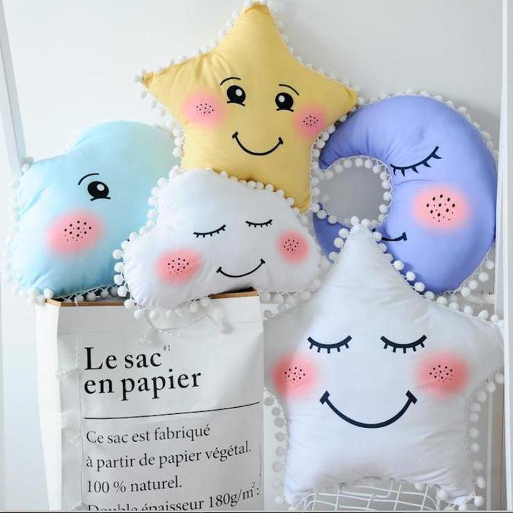 Cloud Star Moon pillow with pom pom