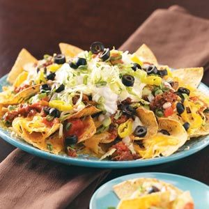 Party Nachos  -- these are super simple. From Taste of Home.