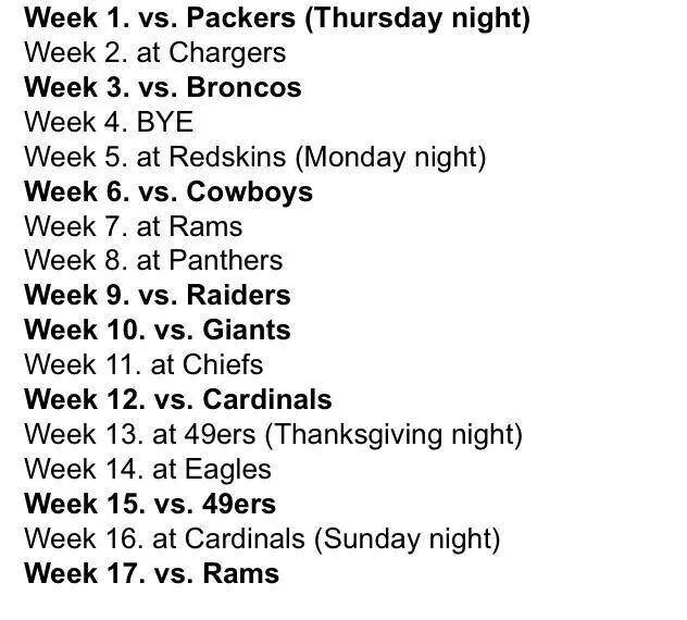 Seattle Seahawks 2014-15 Schedule