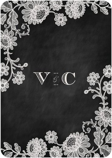 Chalked Affair - Signature White Wedding Invitations - Magnolia Press - Light Gray - Gray : Front