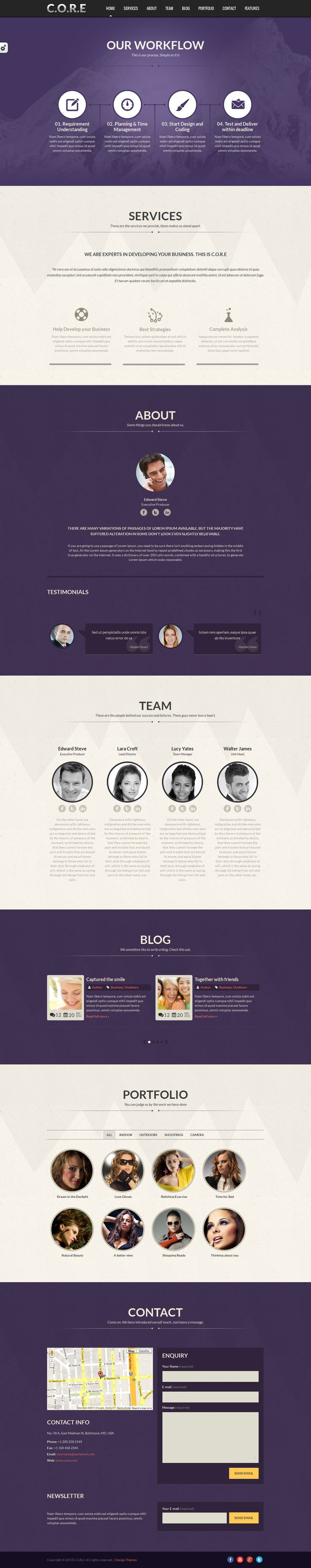 Core is a single page responsive HTML5 Template. Perfect to promote your work or your business. Is compatible with all modern mobile devices.    Template includes, portfolio detail, short codes and blog pages also.
