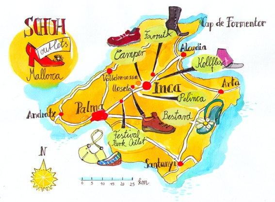Mallorca, Spain. Special Map, shoe finder  hand drawn. Landkarte Mallorca, handmade.