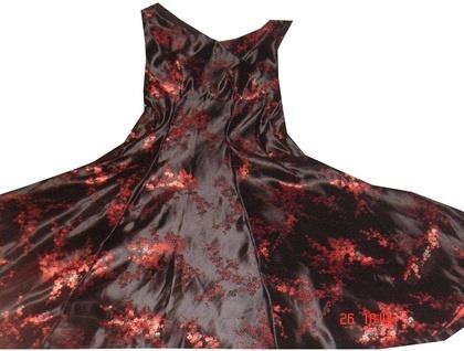 Silk Brocade Crossover Bodice Dress