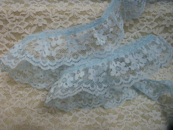 5 YARDS Blue Ruffled Lace Trim Apparel Lace Trim by TomaCraftPlace