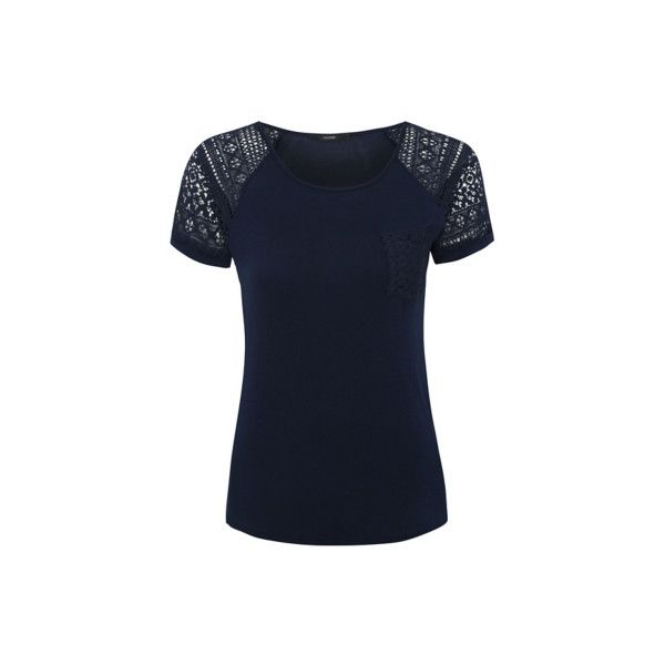 George Crochet Sleeve T-Shirt ($10) ❤ liked on Polyvore featuring tops, t-shirts, navy, short sleeve tee, crochet tops, short sleeve tops, crochet trim top and relaxed tee