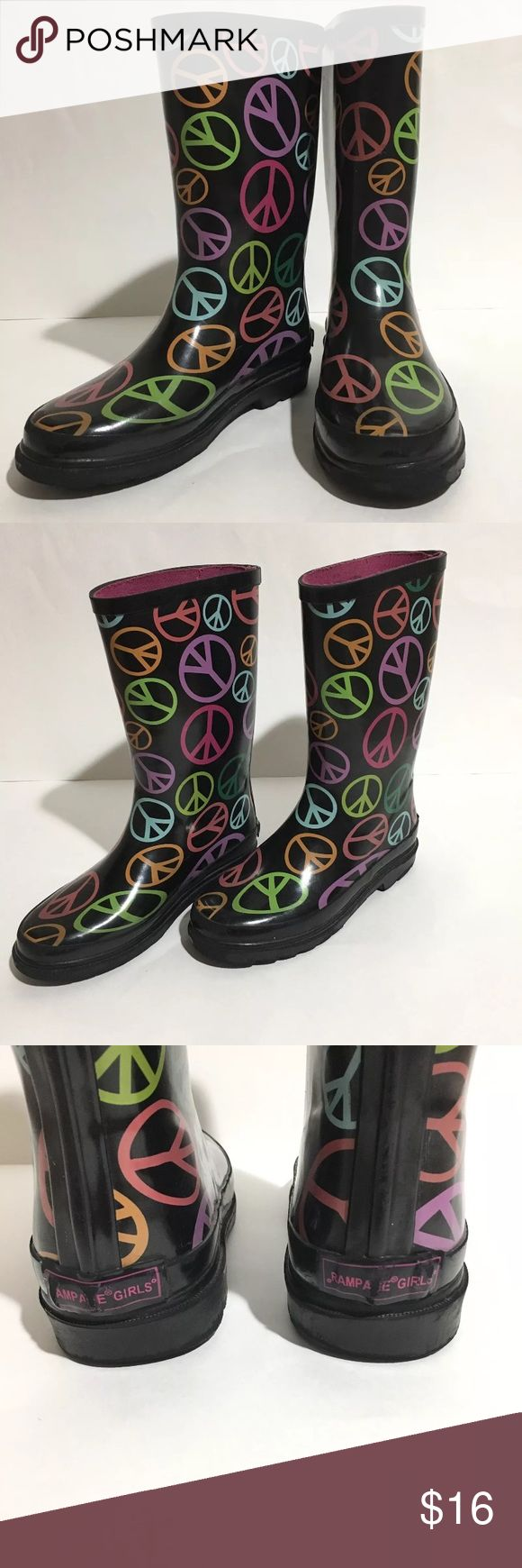 Girls Rampage Black Peace Sign Rubber Rain Boots 3 Rampage girls black Rubber Rain boots with Multicolor peace signs. Size 3 (youth) Excellent condition slight signs of wear *See Pictures* Rampage Shoes Rain & Snow Boots