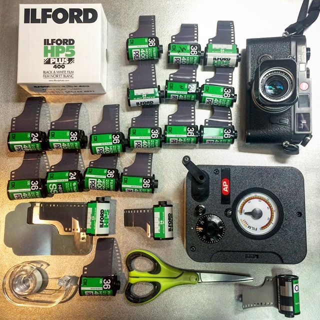 This is the result of 30min with a bulk film winder, 100 ft of #IlfordHP5 , and twenty old #35mmfilm cartridges. Since film is too expensive to buy at Yodobashi Camera anymore my crew and I all go to B&H.com and order online. Bulk #Ilford HP5 is a cheap option for shooting (comes to $2.75 a roll) and you're only spending another 30 cents per roll for development costs if you develop film yourself at home. (#KodakHC110 is my dev. of choice) #ShootFilm…