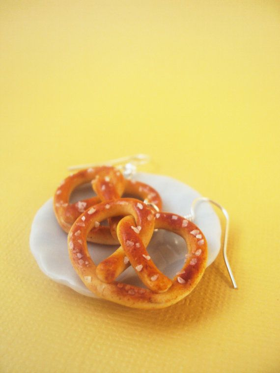 Salted Pretzel Earrings Polymer Clay Miniature by MyMiniMunchies, $14.00