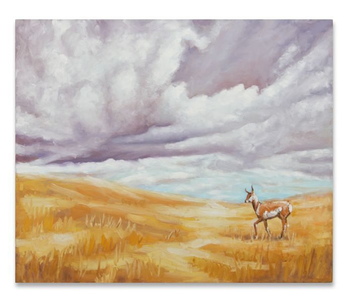 """Ull Hohn, In late October a pronghorn pauses briefly on a praire, just before the wind becomes mixed with rain and snwo, from the """"Revisions"""" series, 1993-1995"""
