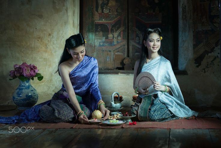 Thai Lady Costume of Ayutthaya Thailand - Woman wearing typical Thai dress…