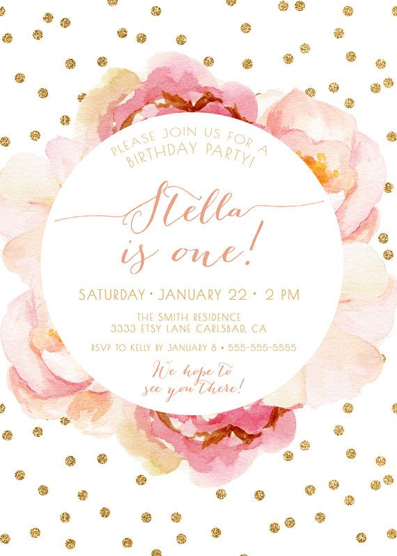 Girl Birthday Invitation Pink and Gold Boho by KReynaDesigns