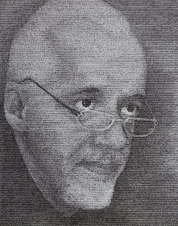 Portrait Paulo Coelho made by letter by SztuknijSie on Etsy