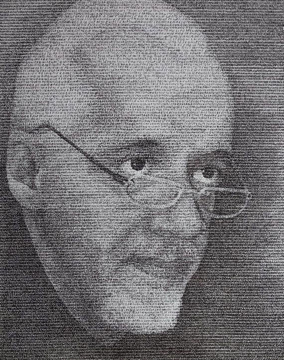 Portrait Paulo Coelho made by letter by SztuknijSie on Etsy